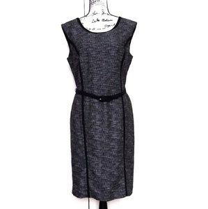 Rafaella Black White Twill Sleeveless Sheath Dress